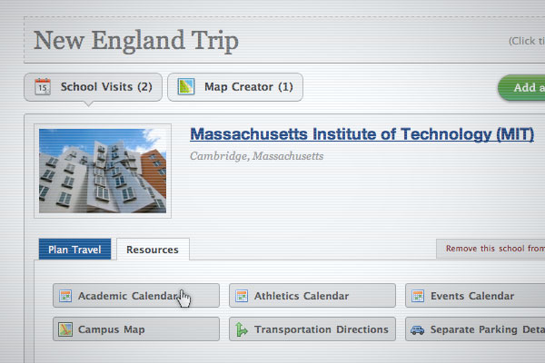College Trip Planner Resources